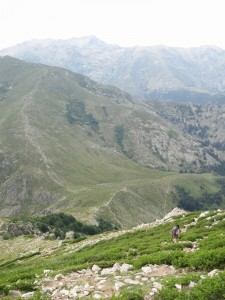 The path down to Refuge de L'Onda. The refuge is just outside the picture on the right side, and the GR20 continues up the mountains on the ridge to the left.