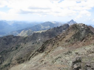 View along the jagged Corsican mountains, seen southwards from the summit of Monte Cinto.