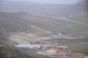 The geothermal field at Krysuvik is close to Reykjavik, and therefore often full of tourists. Some of the first attempts to use geothermal heat in Iceland ended when the well pipe exploded and created the crated just to the left of the visitor platform.