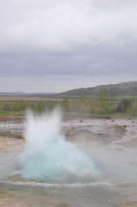 Ready...Strokkur erupts every five to ten minutes, with a big water bubble...