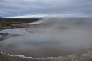 Stori Geysir, in the background, is the name-mother of all geysers. Since the 1930s, she has been dormant, but awakens occasionally in the wake of earthquakes.