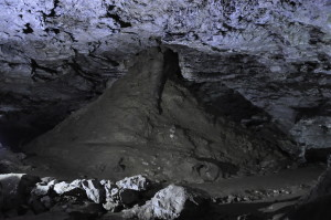 A heap of debris in the cave, accumulated beneath a sinkhole.