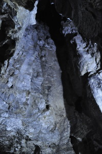 The shaft of a sinkhole, seen from beneath in the cave.