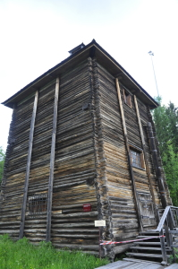 The pump house: This house stands right above the well that pumps salty brine up from the underground, into the pipe along the wall to the right and down to...