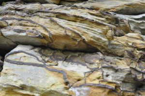 Art by nature: Crossbedded sandstone and web of mud dikes.