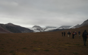 Geologists @ work in the Arctic :): Walking into the valley in Billefjorden, with a glacier in sight. The dark rocks at distance are actually basement rocks in the footwall, behind the  Billefjorden graben.