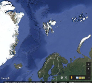 Svalbard is really far from everything, as this Google maps image shows. Svalbard is the triangle in the image center. Greenland to the West, Frans Josefs Land to the NEm and Novaja Zemlja to the East.