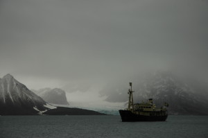 MS Origo, a tough little ship among big glaciers and dark mountains.
