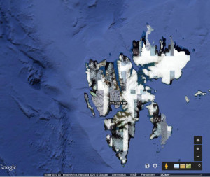 Even bad Google Map images show how most glaciers cover most of Svalbard.