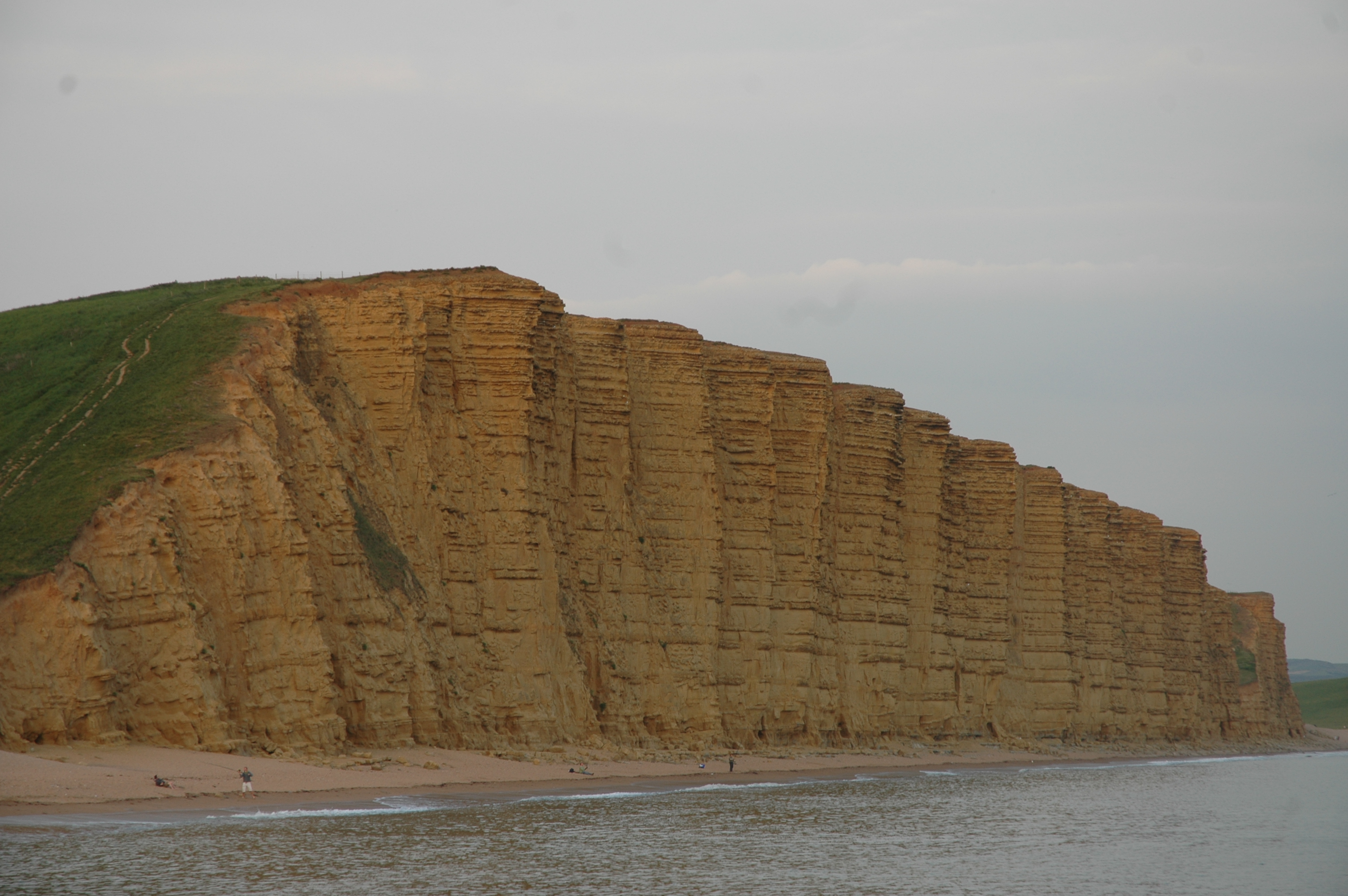 Lower Jurassic Bridport Sands in the cliffs at West Bay, Dorset. Note the alternating soft and hard layers, created by carbonate cement precipitated in the sand.